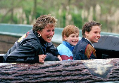 Diana Princess Of Wales, Prince William and Prince Harry visit The Thorpe Park Amusement Park in 1993.