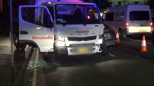 Three minutes into the man's drive in the stolen vehicle he crashed into two cars. Picture: 9NEWS