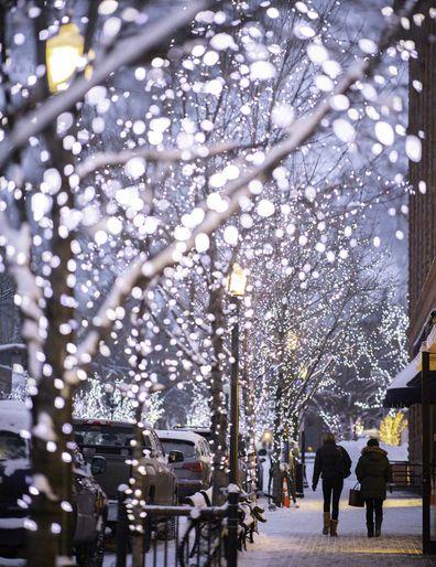 Festoon bulbs light up the streets of Aspen.