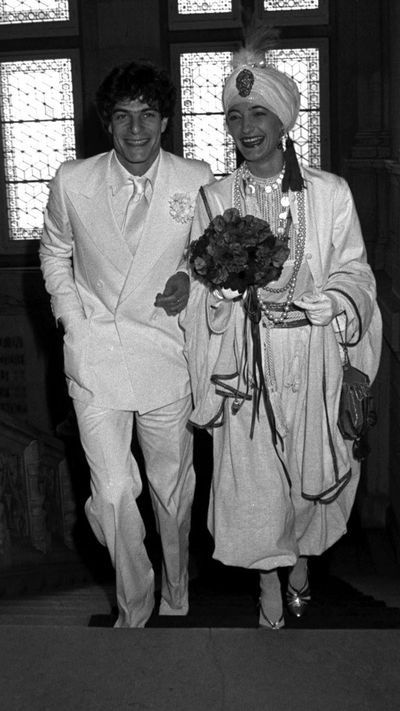 <p>Loulou de la Falaise and Thadee Lossowski de Rola, 1977</p> <p>Accessories designer and muse to Yves Saint Laurent, Loulou de la Falaise entrusted herself to her employer, who hosted her wedding to the son of the painter Balthus in 1977.</p> <p>The dress was from YSL's rive gauche collection, topped off with a turban, naturally.</p>