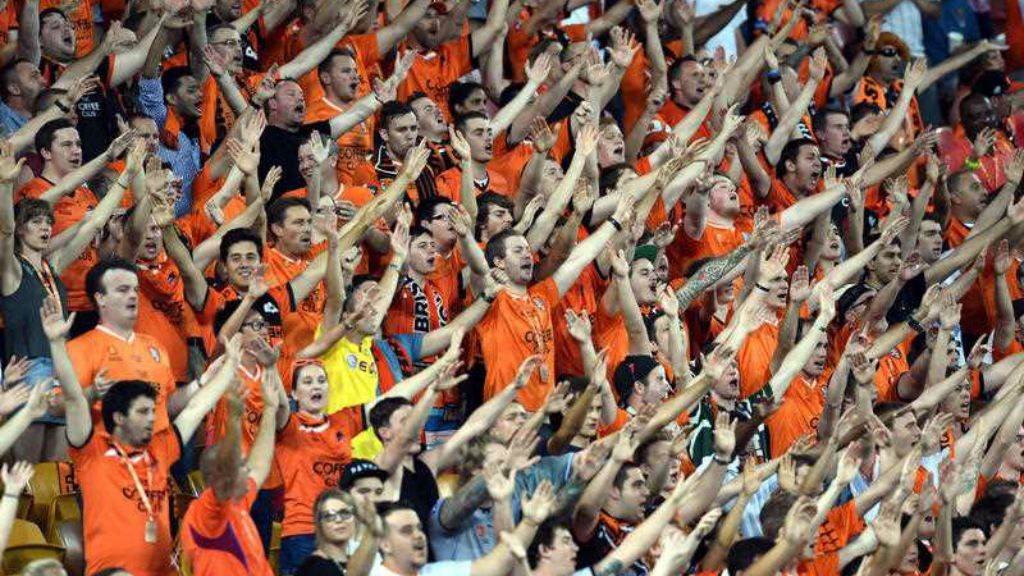 Brisbane fans cheer during the round 13 A-League match between Brisbane Roar and Sydney FC at Suncorp Stadium in Brisbane yesterday. (AAP)