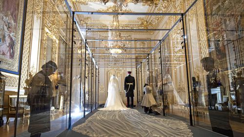 Members of the public can glimpse the wedding outfits up close.