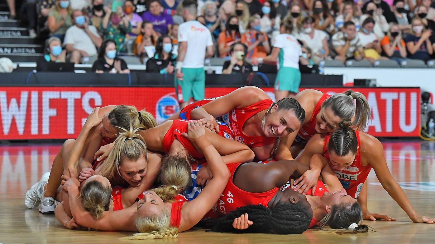 NSW Swifts celebrate the win