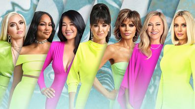 Real Housewives of Beverly Hills Season 11 cast (from left to right) Erika Jayne, Garcelle Beauvais, Crystal Kung Minkoff, Kyle Richards, Lisa Rinna, Sutton Stracke and Dorit Kemsley.