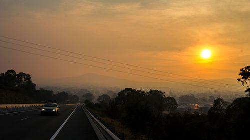 Smoke from the Tallaganda fire hit Queanbeyan yesterday.