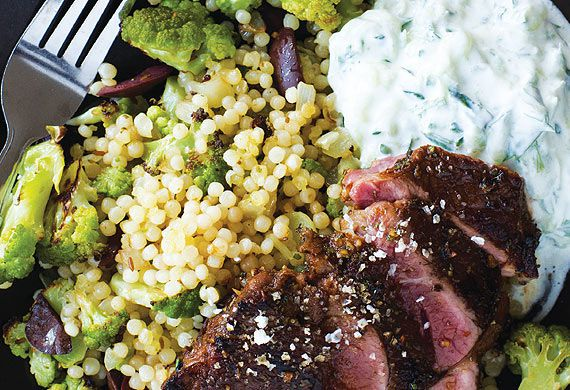 Lamb with tzatziki and roast broccoli pearl couscous
