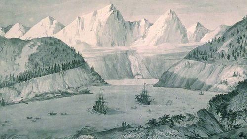 Duché de Vancy's painting of La Perouse's ships landing in Lituya Bay in Alaska.