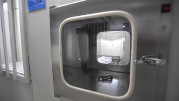 An isolation unit is seen at the Huoshenshan temporary field hospital in Wuhan.