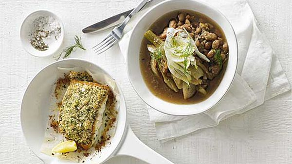 Aaron Carr's snapper with pinto beans and fennel