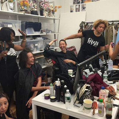 <p>The models in hair and make-up.</p>