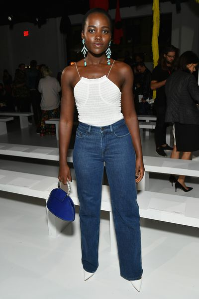 Lupita Nyong'ofront row at Calvin Klein, New York Fashion Week, September 2017.
