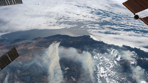 The California wildfires can be seen from space.