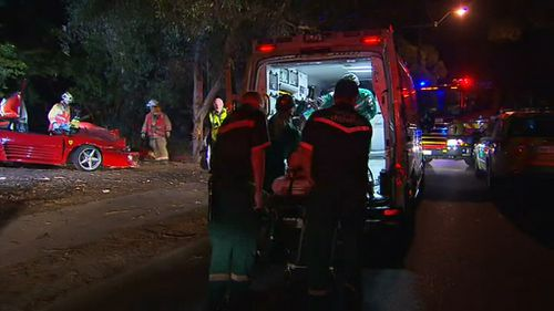The driver was uninjured and his male passenger was taken to hospital with head and leg injuries. (9NEWS)