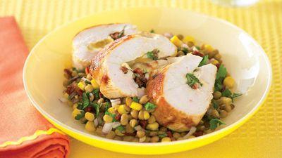 """Recipe:<a href=""""http://kitchen.nine.com.au/2016/05/13/11/09/pocket-chicken-with-lentil-salad"""" target=""""_top"""" draggable=""""false"""">Pocket chicken with lentil salad<br> </a>"""