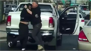 Video has captured the moment two drivers got into a punch up on a Fairfield street yesterday.