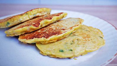 Easy, three-ingredient chickpea pancakes with no milk