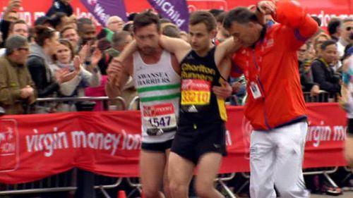 Matthew Rees helped David Wyeth finish the London Marathon. (BBC)