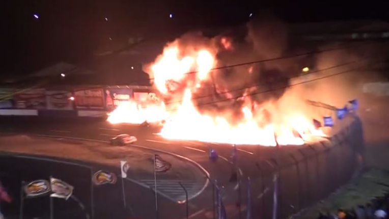 Three cars burst into flames at Washington speedway after horror crash