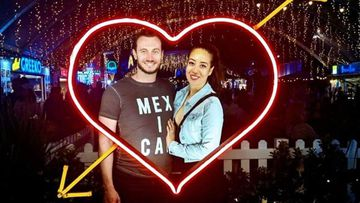 Luke Craig with his fiancee Mariana Lopez, who was granted a prospective marriage visa, only to be stuck overseas in Mexico City.