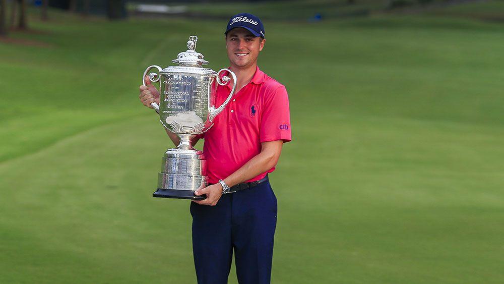 Justin Thomas has claimed his first major championship at the US PGA. (AAP)