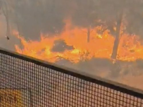 A truck driver was trapped and filmed the fire coming closer.