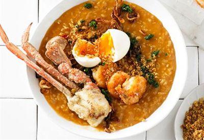 """Recipe:&nbsp;<a href=""""/recipes/icrab/9048849/mitch-orrs-crab-and-prawn-congee"""">Mitch Orr's crab and prawn congee</a>"""