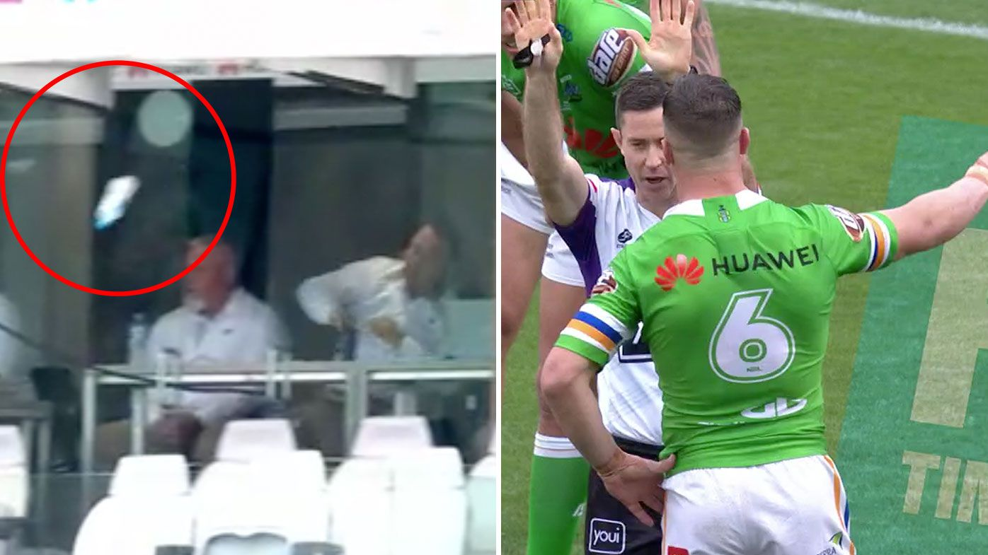 Raiders coach Ricky Stuart tosses his water bottle after 'controversial' sin-binning