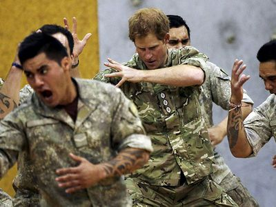 More haka moves from the prince. (9NEWS)