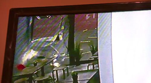 CCTV captured the moment the ute crashes into the shop.