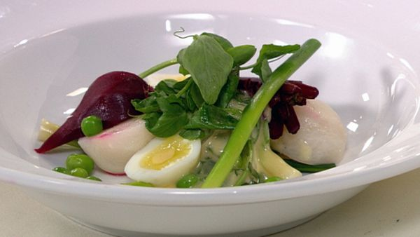 Kitchen garden spring vegetables, tarragon mayonnaise and soft boiled quail egg