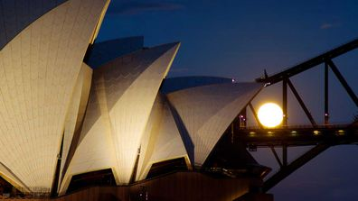 Sydney Opera House full moon
