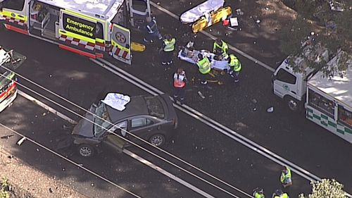 One person was killed and three trapped in a two-car crash north of the Central Coast yesterday. Picture: 9NEWS.