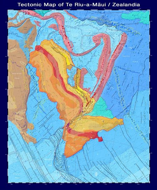This tectonic map highlights the 5 million sq km Te Riu-a-Māui / Zealanda continent. Credit: GNS Science