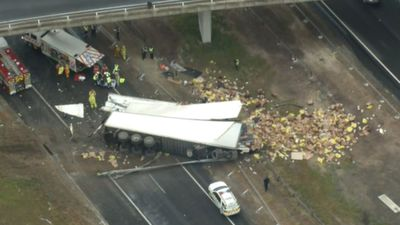 Lanes closed after truck carrying chicken rolls on Victorian highway