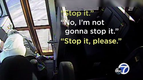 The little girl pleads with the bus driver to stop. (Supplied)