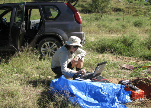 A Geoscience Australia seismologist deploys a temporary seismometer after the Bowen quake. More than 300 aftershocks were recorded in the aftermath.