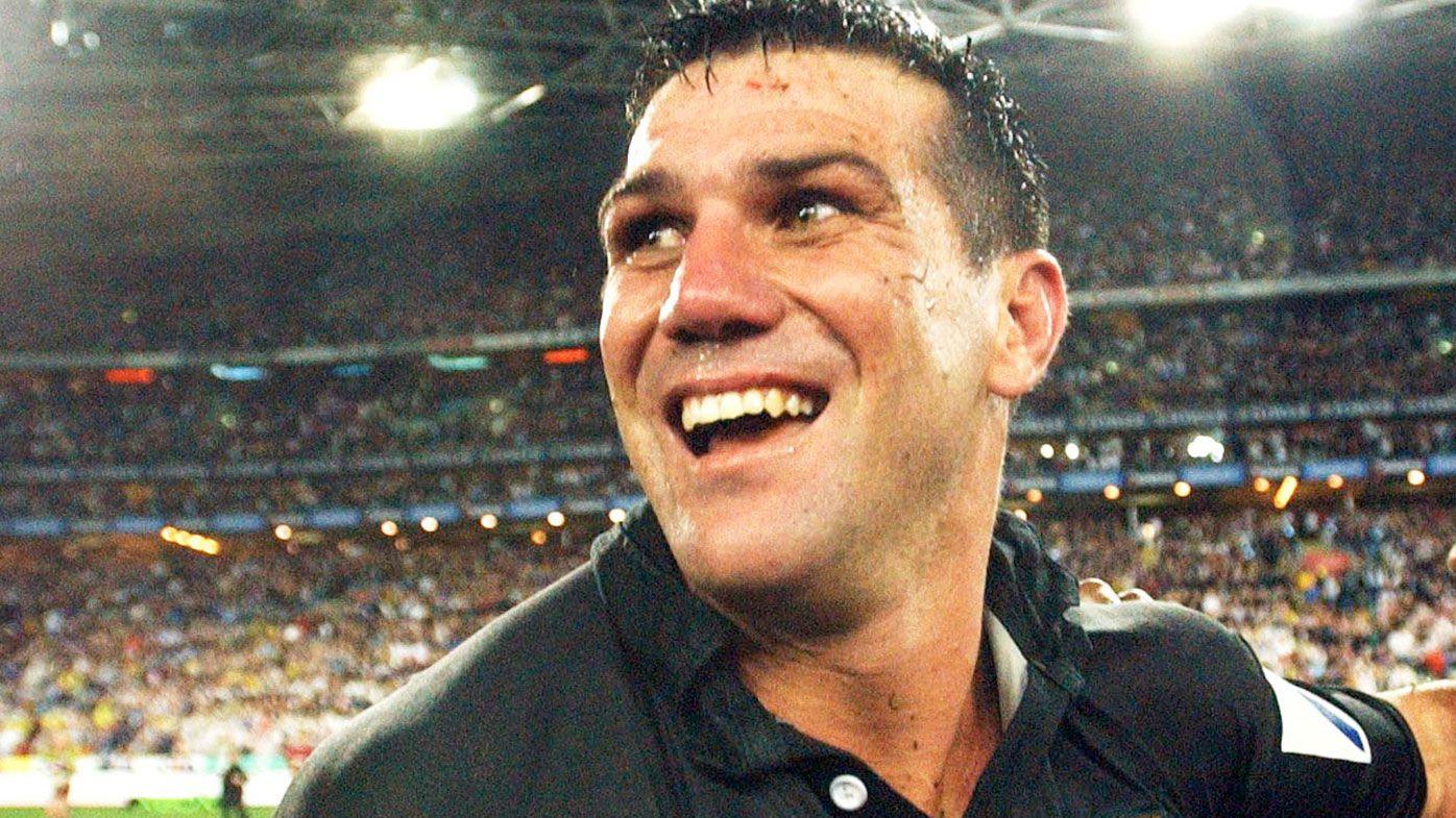 Scott Sattler celebrates after the 2003 NRL Grand Final