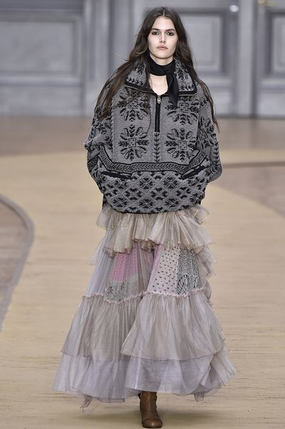 Borrowing from summer's gauzy silks and sheer lace, this trend has perfected the art of a long, bohemian skirt for winters coldest months. Take inspiration from Chloe's AW16 runway as well as early street style adopters and channel romance, now.