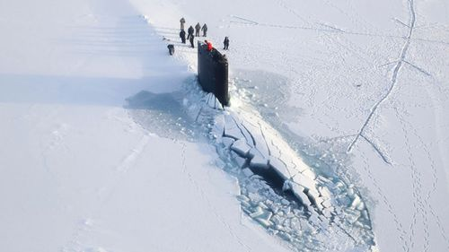 The U.S. Navy has kicked off biennial submarine testing and training under sea ice off Alaska's north coast. (AAP)