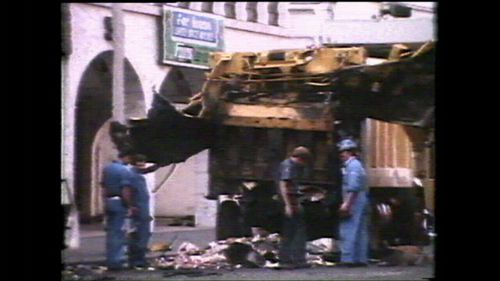 Three people were killed when a bomb ripped apart a garbage bin outside Sydney's Hilton Hotel in 1978.
