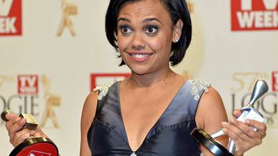 "Miranda Tapsell with her Silver Logies for Most Popular New Talent for ""Love Child"", and the Graham Kennedy Award For Most Outstanding Newcomer. (AAP)"