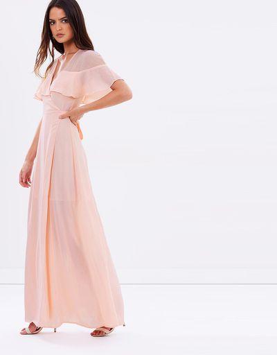 "<a href=""https://www.theiconic.com.au/dream-frill-maxi-wrap-dress-447165.html"" target=""_blank"" draggable=""false"">Atmos &amp; Phere Dream Frill Maxi Wrap Dress in Blush, $49.18</a><br> <br>"