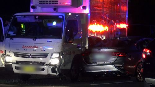 A wild driving spree through Sydney in a stolen Coles truck, has left six vehicles damaged. Picture: 9NEWS