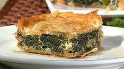 "Recipe:&nbsp;<a href=""http://kitchen.nine.com.au/2016/05/18/12/50/spanakopita-greek-spinach-pie"" target=""_top"">Spanakopita (Greek Spinach Pie)</a>"