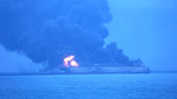"""The Panama-registered tanker """"Sanchi"""" is seen ablaze after a collision with a Hong Kong-registered freighter off China's eastern coast. (AAP)"""