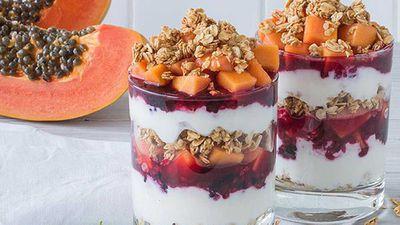 <strong>Red papaya and mixed berry parfaits</strong>