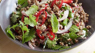 <strong>Minced beef larb with roasted rice</strong>