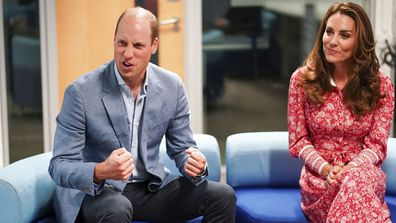 Britain's Prince William and Kate, Duchess of Cambridge speak to employers during a visit to the London Bridge Jobcentre in London, Tuesday Sept. 15, 2020.