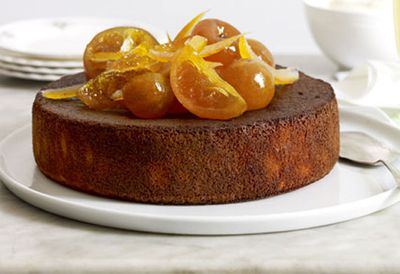 Orange, cardamom and almond cake with orange-blossom yoghurt