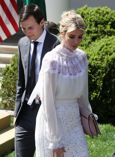 <p>Former model Ivanka trump wore a $5,000 Oscar de la Renta outfit. The white lace top and skirt were assembled with Ivanka's stylist, Australian Cat Williams.&nbsp;</p> <p>&nbsp;</p>